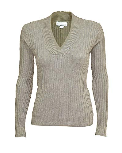 (Croft & Barrow Ladies Stretchy V-Neck Long Sleeve Cable Knit Sweater S)