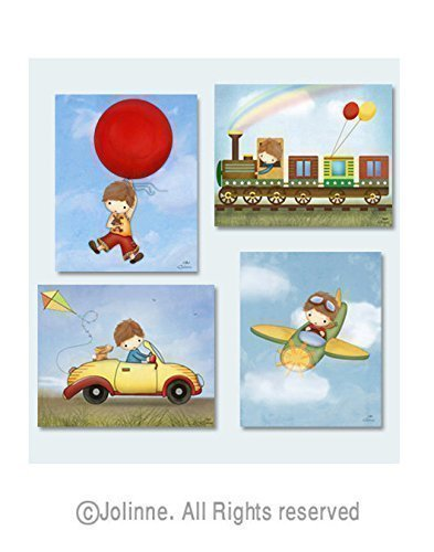 Boys Room Decoration Baby Nursery Art Posters Kids Bedroom Pictures Transportation / Set of 4 Prints Custom Hair and Skin Color