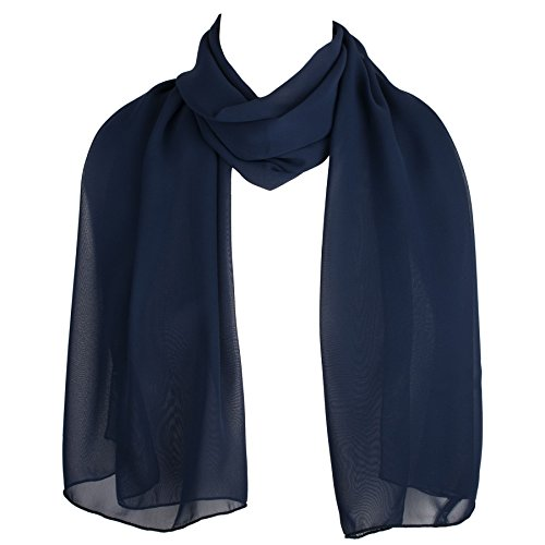 Blue Chiffon - HatToSocks Chiffon Scarf Sheer Wrap Voile Beach Sarong for Women - Navy Blue