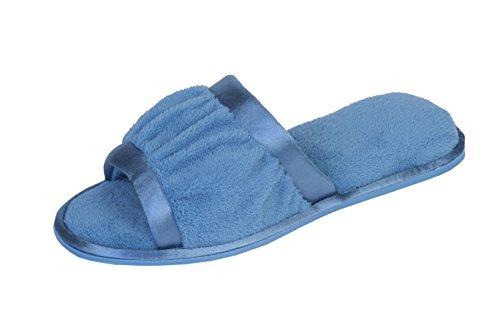 Joan Vass Womens Slipper A Punta Aperta In Spugna Con Dettagli In Raso Blu