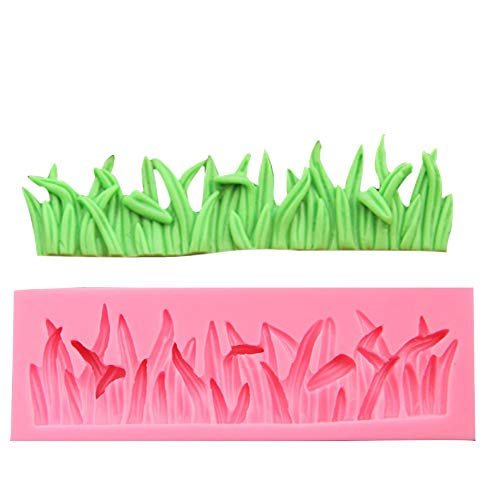 Efivs Arts Grass Shape Silicone Mold Fondant Mold Cupcake Cake Side Decoration Tool