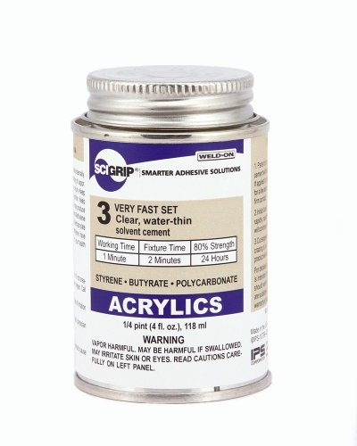 SCIGRIP 3 10799 Acrylic Solvent Cement, Low-VOC, Water-thin, 1/4 Pint Can with Screw-on Cap, Clear