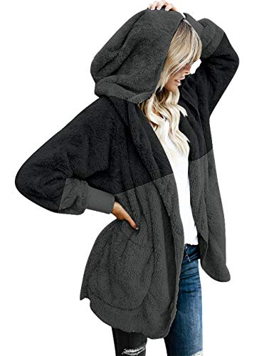 (ACKKIA Womens Oversized Open Front Faux Fur Cardigan Coat Colorblock Multicoloured Pocket Hoodie Black and Dark Grey XX-Large (Fits US 20-US 22))