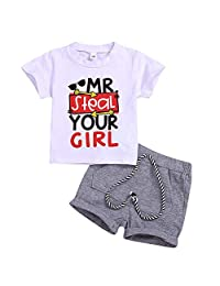 i-Auto Time Newborn Baby boy Clothes Letter Print T-Shirt+Short Pant Outfit Shorts Set