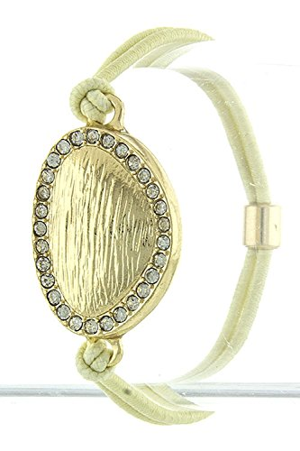 TRENDY FASHION JEWELRY TEXTURED OVAL BRACELET AND HAIR TIE BY FASHION DESTINATION | (Ivory) (Lois Hill Oval Bracelet)