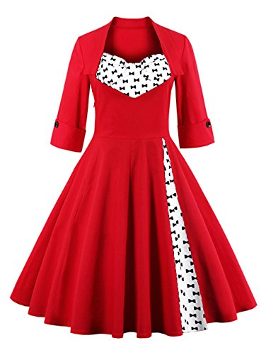 MissNina Women 50s Vintage Classic 3/4 Sleeve Bodycon Evening Bridesmaid Dress, Red/Bow, Large - Vintage Square Dance Dress