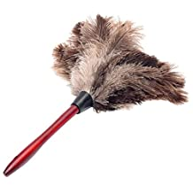 BleuMoo Ostrich Feather Fur Brush Duster Dust Cleaning Tool Wooden Handle