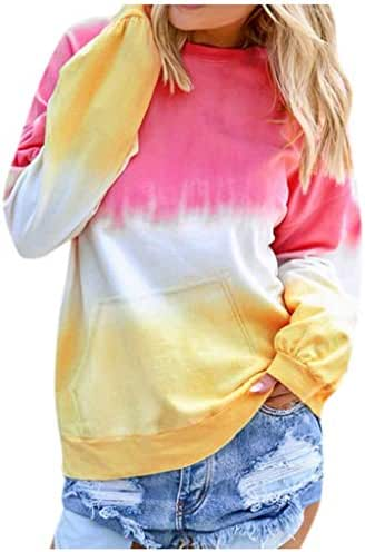 Blouse for Women Elegant Casual Fashion Contrast Color Shirt Long Sleeve Pullover Sweatshirt Pocket Tops Tunic