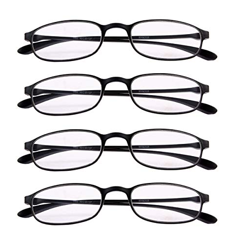 4 PRS Reading Glasses +1.50 Everyday Use Eyeglasses Lightweight Flexible Slim Spectacles Readers Black Frame