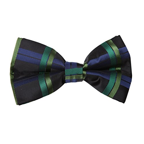 Dan Smith DBD7C16D Black Green Blue Checkered Microfiber Mens Bow Tie Designer Goods Pre-tied Bow Tie