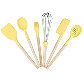Baker Boutique Kitchen Utensil Set 6 Pcs Silicone Stainless Steel with Wood Handle Solid Spatula Spoon Brush Whisk Spatula Ladle Strainer 2 6-Piece Set: Kitchen/Serving Utensils Set Includes: Solid Spatula, Spoon, Brush, Whisk, Baking Spatula, Ladle Strainer. Heat-resistant : With high quality Nylon and ABS material, Non-Slip handle and Non-sticky table design, they're heat resistant with up to 410¨H,you can grab and flip in the hottest environments. Stylish Design : Each tool in the set has a special Raised Head Design which makes it possible to put down the tool on the counter without making a mess and make sure the food stays clean.