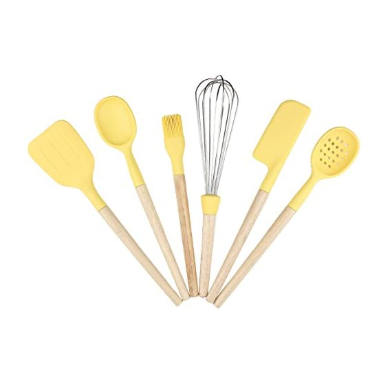 Baker Boutique Kitchen Utensil Set 6 Pcs Silicone Stainless Steel with Wood Handle Solid Spatula Spoon Brush Whisk Spatula Ladle Strainer 1 6-Piece Set: Kitchen/Serving Utensils Set Includes: Solid Spatula, Spoon, Brush, Whisk, Baking Spatula, Ladle Strainer. Heat-resistant : With high quality Nylon and ABS material, Non-Slip handle and Non-sticky table design, they're heat resistant with up to 410¨H,you can grab and flip in the hottest environments. Stylish Design : Each tool in the set has a special Raised Head Design which makes it possible to put down the tool on the counter without making a mess and make sure the food stays clean.