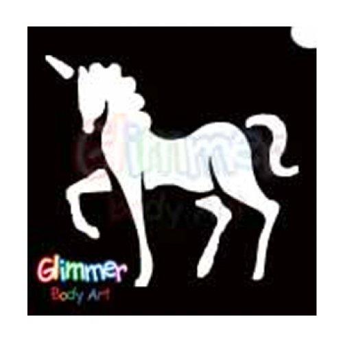 Glimmer Body Art Glitter Tattoo Stencils - Unicorn -