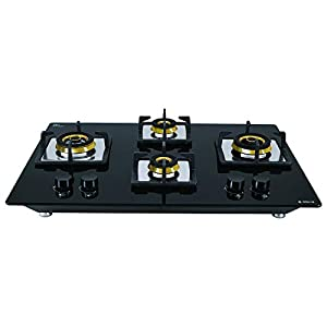 Elica Hob 4 Burner Auto Ignition Glass Top – 2 Small and 2 Medium Brass Gas Stove (Flexi FB HCT 470 DX)