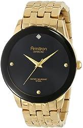 Armitron Men's 20/4952BKGP Diamond Dial Wall-to-Wall Crystal Gold-Tone Bracelet Watch