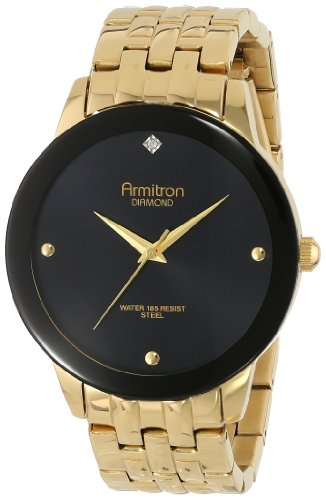 Armitron Men's 20/4952BKGP Diamond Dial Wall-to-Wall Crystal...