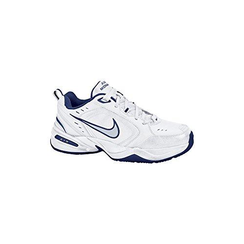 Nike Men's NIKE AIR MONARCH IV (4E) RUNNING SHOES -11.5;   White / Metallic Silver-Midnight Navy