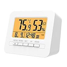 MoKo LED Digital Alarm Clock, Multifunctional Electronic Home Decor Desktop Table Bedside Clock Calendar, Snooze/Sleep/Kitchen Timer, Indoor Thermometer/Hygrometer with Backlight Monitor - WHITE