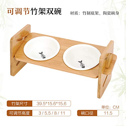 Double bowls DLwbdx Cat bowl, double bowls of ceramics, bamboo table, cat food bowl, single bowl, three bowls of adjustable water bowl pet dog,Double bowls