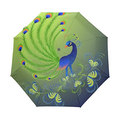rngysdhj Umbrella,Sun Umbrella Watercolor Animals Printed Automatic Umbrella Three Folding Men Women Umbrellas Auto Luxury Windproof Black Coating Umbrellas