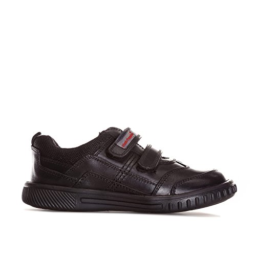 BOYS HUSH PUPPIES LIONFISH BLACK LEATHER ADJUSTABLE DOUBLE STRAP SCHOOL SHOES -UK 12 (EU 30.5)