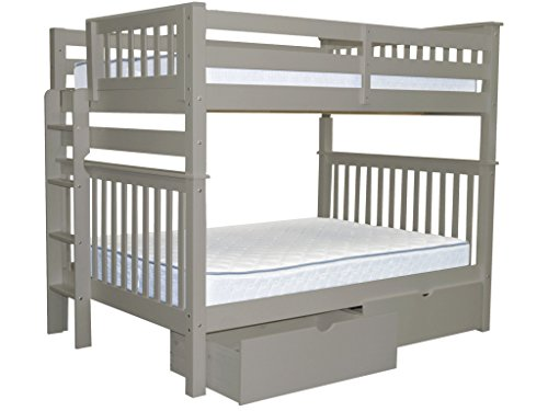 Bedz King Bunk Beds Full over Full Mission Style with End Ladder and 2 Under Bed Drawers, Gray For Sale