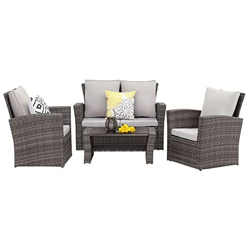 Garden and Outdoor Wisteria Lane 4 Piece Outdoor Patio Furniture Sets, Wicker Conversation Set for Porch Deck, Gray Rattan Sofa Chair with… patio furniture sets