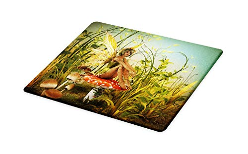 Lunarable Fantasy Cutting Board, Little Fairy Elf with Wings on Fly Agaric Mushroom in the Enchanted Forest Art, Decorative Tempered Glass Cutting and Serving Board, Large Size, Olive Green