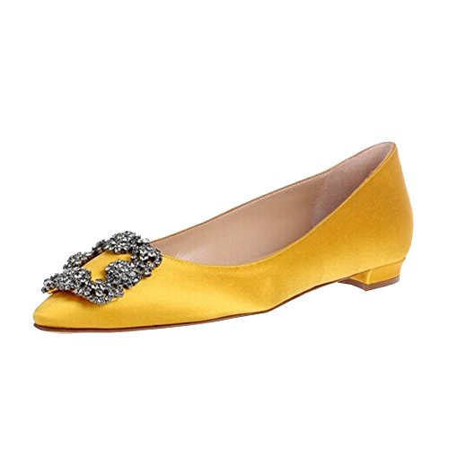 Merumote Femmes Strass Chaussures Satin Bout Pointu Appartements Jaune