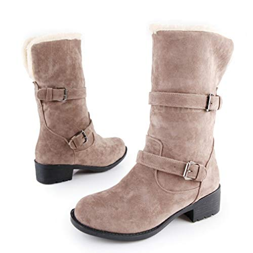 JOYBI Womens Winter Faux Suede Snow Boot Fur Lined Non Slip Round Toe Chunky Low Heel Mid Calf Boots Gray