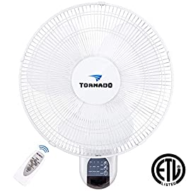 Tornado Wall Fan & Floor Drum Fan & Clip Fan 118 Reliable metal gear construction makes for whisper quiet operation. 16-Inch diameter tough break resistant ABS fan blade with the 3-speed motor & 3 oscillation settings; 90 degrees of extreme oscillating angles. Ball Bearing - The most reliable maintaining free - oil free bearing on the market. Includes speed control, 15 Models from 30 minutes to 7.5 hours increment timer, and oscillation controls; Built-in thermal overload protection; Automatic shut off with incorrect assembly. Program precise fan movement patterns to fit any application. Operate with less noise than traditional inline fans. Ideal for home, greenhouses, garages, workshops and other areas where a heavy-duty portable stand fan can be used.