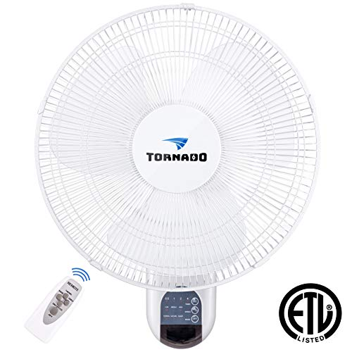 Tornado 16 Inch Digital Wall Mount Fan - Remote Control Included - 3 Speed Settings - 3 Oscillating Settings - 65 Inches Power Cord - ETL Safety Listed ()