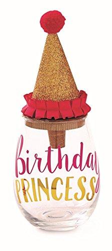 Mud Pie Birthday Princess 9 oz Stemless Wine Glass and Co...
