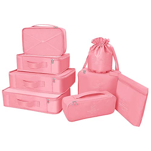 Packing Cubes 8 Sets/7 Colors Latest Design Travel Luggage Organizers Include Waterproof Shoe Storage Bag Convenient Packing Pouches for Traveller