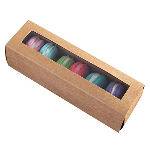 [15pcs]Brown Macarons Boxes of 6 Cavity, Small Macaron Container Bakery Box also fits for Muffins and Cookies Kraft Cardboard Packaging with Clear Window Lid 8inch