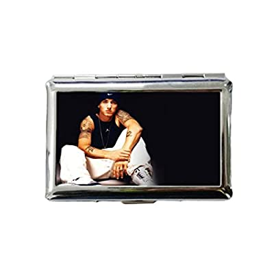 Eminem Custom Style Classic Metallic Silver Color Stainless Steel ID Cigarette Case Holder Credit Card RFID Protective Security Wallet