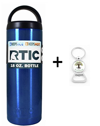 RTIC Custom Powder Coated Stainless Steel Insulated Can Colster Cup Mug Tumbler Beer Soda Water Bottle - Keeps drinks COLD or hot - great for travel (18oz, Candy Blue)