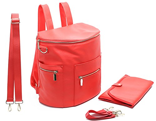 Diaper Bag Backpack by Miss Fong, Diaper Bag with Changing Pad,Wipes Pouch,Diaper Bag Organizer,Stroller Straps and Insulated Pockets (Red)