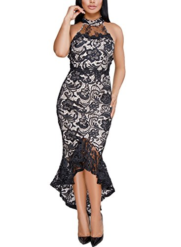 Evening Halter Lace Gown (CICIDES Womens Halter Solid Formal Lace Maxi Dress Sexy Sleeveless Prom Evening Bodycon Elegant Party Gown Mermaid Dress Vintage Wedding Midi Dress Black US4-6 Small)
