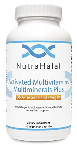NutraHalal Advanced Formula Activated Halal MultiVitamin & MultiMineral - Halal DNA Tested Vitamin B, C, D, D3, E, B Complex – 120 Count
