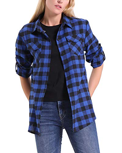 KENANCY Women's Roll up Long Sleeve Casual Loose Classic Plaid Button Down Shirt Blue XL