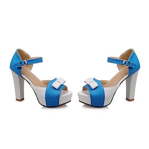 Sandales D'orteil Aalardom Talon Mélangées À Haut Femme Couleurs Ouverture Bleu Boucle S6nTqzSxw