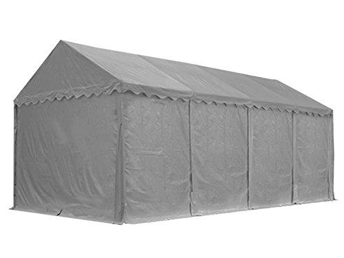 XXL Lagerzelt PROFESSIONAL 4x8m, hochwertige 550g/m² PVC Plane in grau, vollverzinkte Stahlkonstruktion, Ø Stahlrohre ca. 50 mm, Seitenhöhe ca. 3,0 m