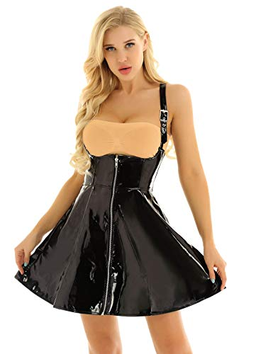 FEESHOW Women PVC Leather Sleeveless Front Zipper Corset Mini Dress Clubwear (Black, XX-Large) ()