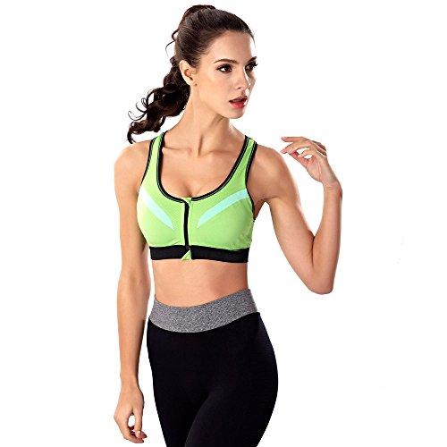 Rcool Sujetadores Reductor Push Up Sin Aros Anti-choque Sudadera Deportivos Bra Para Mujer Verde