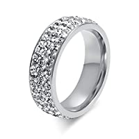Women Stainless Steel Eternity Ring CZ Cubic Zirconia Crystal Circle Round,Silver,7mm Width