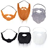 WILLBOND 6 Pieces Fake Beards Mustaches Halloween Beard Funny Fake...
