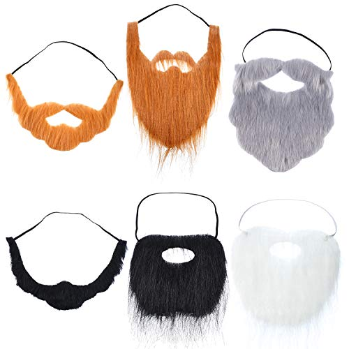 WILLBOND 6 Pieces Fake Beards Mustaches Halloween Beard Funny Fake Beard Costume Accessories Party Supplies for Adult Kids -