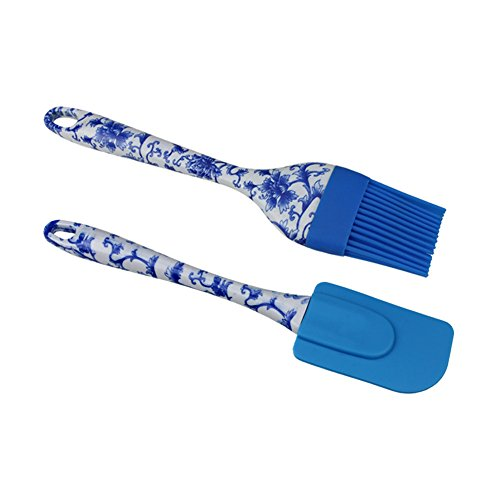 Silicone Spatula & Brushes 2-pcs Set, Blue and White Porcelains Painting ABS Handle, Heat-Resistant Non-stick Silicone, For Cooking Baking or BBQ, Useful Kichen Tools Set