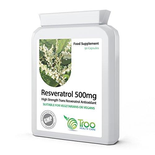 Resveratrol 500mg 90 Kapseln - Hohe Festigkeit Trans Resveratrol Ergänzen - Hergestellt Nach GMP Qualitätssicherung